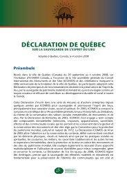 DÉCLARATION DE QUÉBEC - Icomos