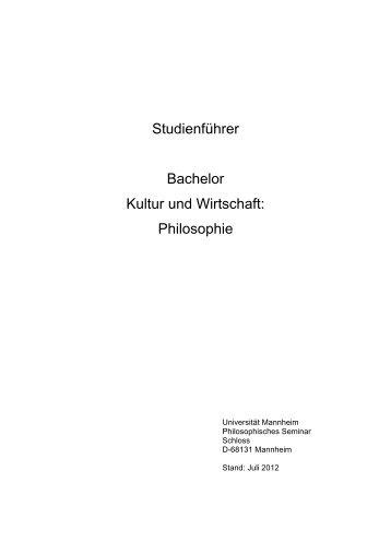 Philosophie - Bachelor Kultur und Wirtschaft - Universität Mannheim