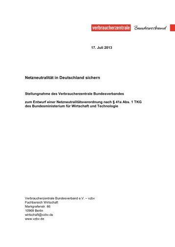 Stellungnahme des vzbv zum Entwurf einer ...