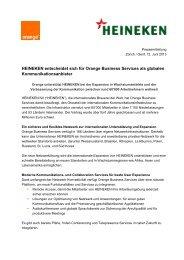 HEINEKEN entscheidet sich für Orange Business Services als ...
