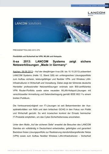 it-sa 2013: LANCOM Systems zeigt sichere Netzwerklösungen ...