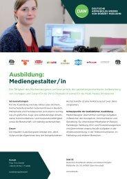 Ausbildung: Mediengestalter / in - DAW