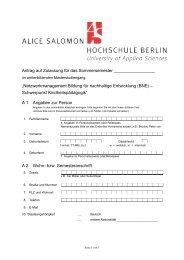 Zulassungsantrag - Alice Salomon Hochschule Berlin
