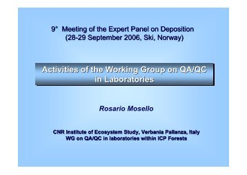 R. Mosello - ICP Forests