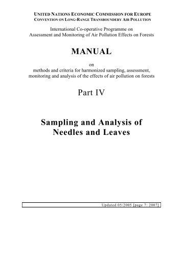 MANUAL Part IV Sampling and Analysis of Needles ... - ICP Forests