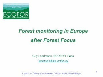 Forest monitoring in Europe after Forest Focus - ICP Forests