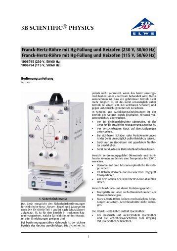 Franck-Hertz-Röhre mit Hg-Füllung und Heizofen ... - 3B Scientific