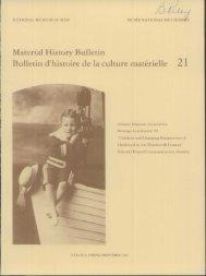 Material History Bulletin Bulletin d'histoire de la culture materielle 21