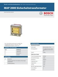 MAP 2000 Sicherheitstransformator - Bosch Security Systems