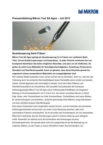 CrazyMill Cool: Quantensprung beim Fräsen - Mikron