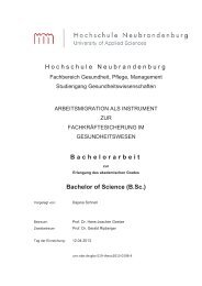 Hochschule Neubrandenburg Bachelorarbeit Bachelor of Science ...