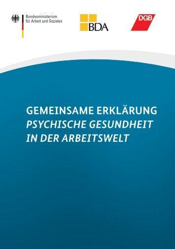 Gemeinsame Erklärung psychische Gesundheit in der Arbeitswelt