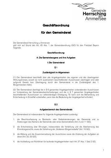 Geschäftsordnung für den Gemeinderat - Herrsching am Ammersee