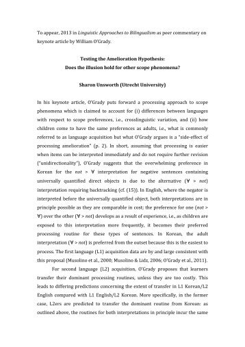 To appear, 2013 in Linguistic Approaches to Bilingualism as peer ...