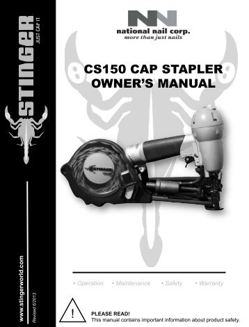CS150 CAP STAPLER OWNER'S MANUAL - Home Depot