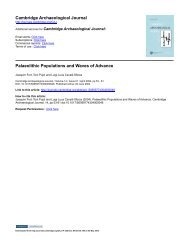 Cambridge Archaeological Journal Palaeolithic Populations and ...