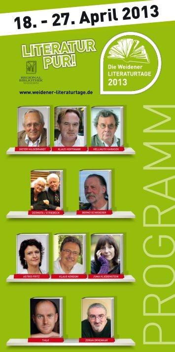 Programmheft 2013 - Weidener Literaturtage