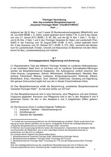 Verordnungsentwurf - Biosphärenreservat Vessertal-Thüringer Wald