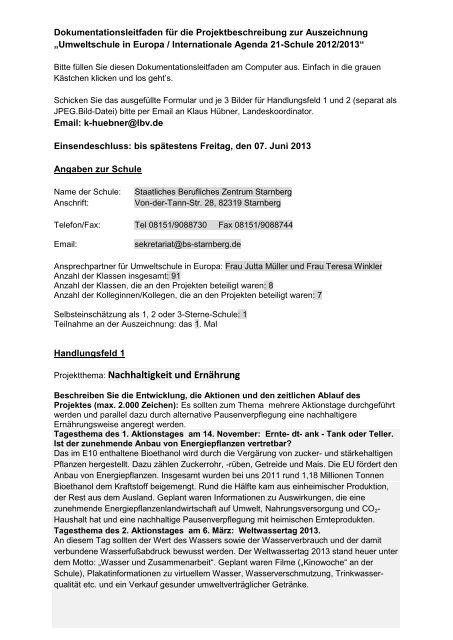 Projektthema: Nachhaltigkeit und Ernährung - LBV
