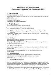 Arbeitsplan des Heimatvereins Fredersdorf-Vogelsdorf e.V. für das ...