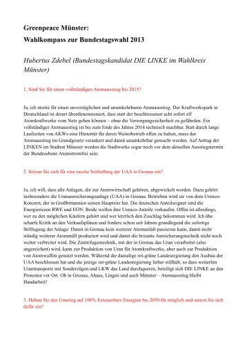 Die Linke. (PDF) - Greenpeace Gruppen in Deutschland
