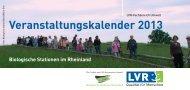 Veranstaltungskalender 2013 - Biologische Stationen Rheinland