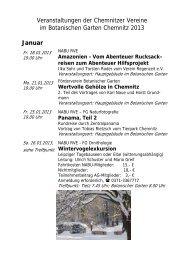Veranstaltungen im Botanischen Garten 2013 - Chemnitz