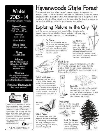 Nature program winter schedule [PDF] - Wisconsin DNR