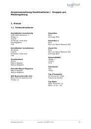 Zusammensetzung Kombinationen / Gruppen pro Mediengattung 1 ...