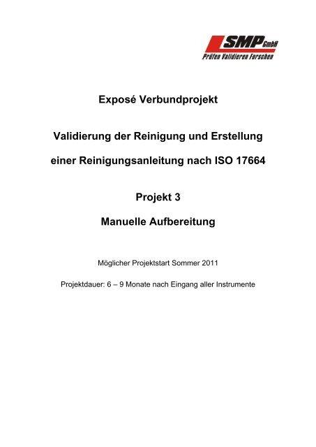 Exposé Verbundprojekt Validierung der Reinigung ... - SMP GmbH