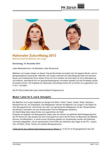Nationaler Zukunftstag 2013 - StudiWeb der PH Zürich