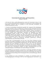 Kommuniqué der G20 Arbeits- und Finanzminister