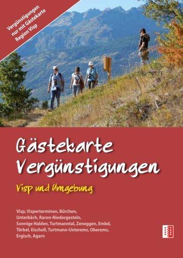 Gastekarte Vergunstigungen ¨ ¨ - Bürchen Tourismus
