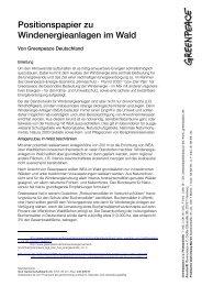 Positionspapier zu Windenergieanlagen im Wald - Greenpeace