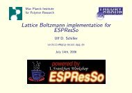 Lattice Boltzmann implementation for ESPResSo - Institute for ...
