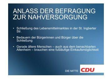anlass der befragung zur nahversorgung - CDU Rotenbühl