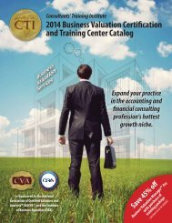 Business Valuation Certification and Training Center Catalog