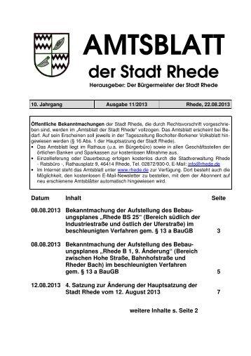 Amtsblatt Ausgabe 11-2013 - Stadt Rhede