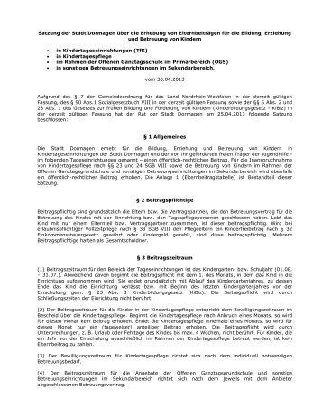 Satzung der Stadt Dormagen über die Erhebung von ...