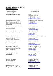 Projekte Lokaler Aktionsplan 2013