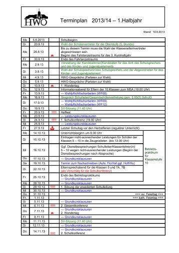 Schulkalender 2013/2014 – 1. Schulhalbjahr