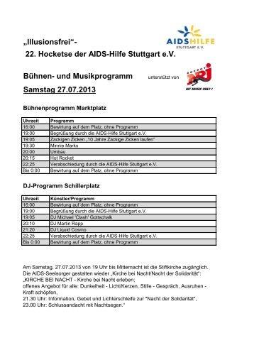 """Illusionsfrei""- 22. Hocketse der AIDS-Hilfe Stuttgart e.V. Bühnen ..."