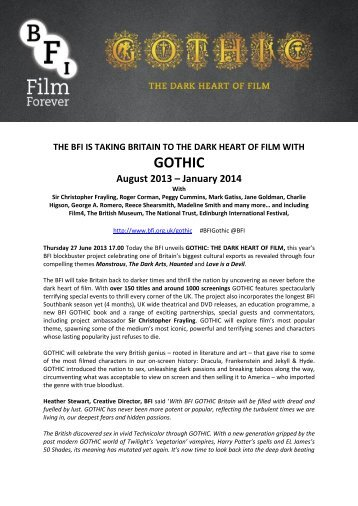 BFI press release: Gothic: The Dark Heart of Film