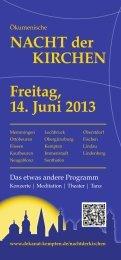 NACHT der KIRCHEN Freitag, 14. Juni 2013 - Dekanatsbezirk ...