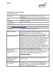 Projektblatt für den Aktionsplan - BBWA-Berlin