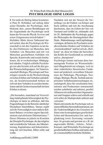 PSYCHOLOGIE OHNE LOGOS - Gesellschaft für kritische Philosophie