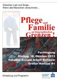Veranstaltungsflyer 'Pflege und Familie...'