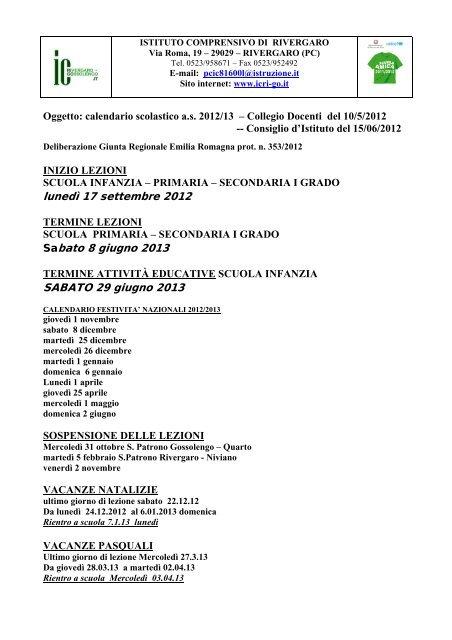 Calendario Scolastico Emilia.Calendario Scolastico A S 12 13 Dell Istituto Icri Go It