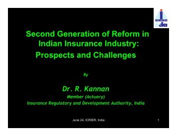 Second Generation of Reform in Indian Insurance Industry ... - icrier