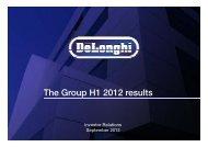 De'Longhi H1 2012 results presentation - Investor Relations ...